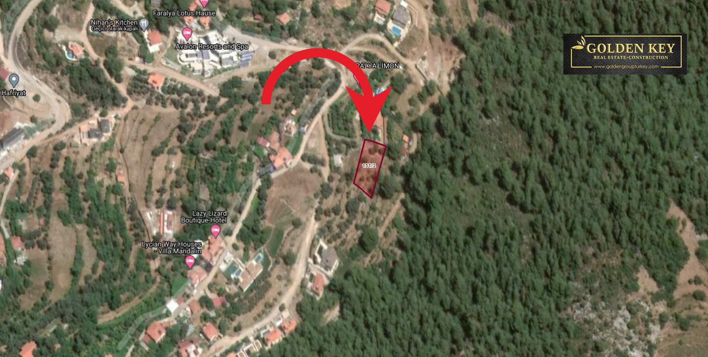 Land with sea view in Faralya Area 3,500,000 TL